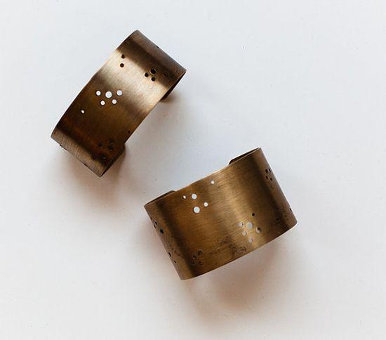 Handmade jewelry antique brass cuff bracelet.  Modern bubble design