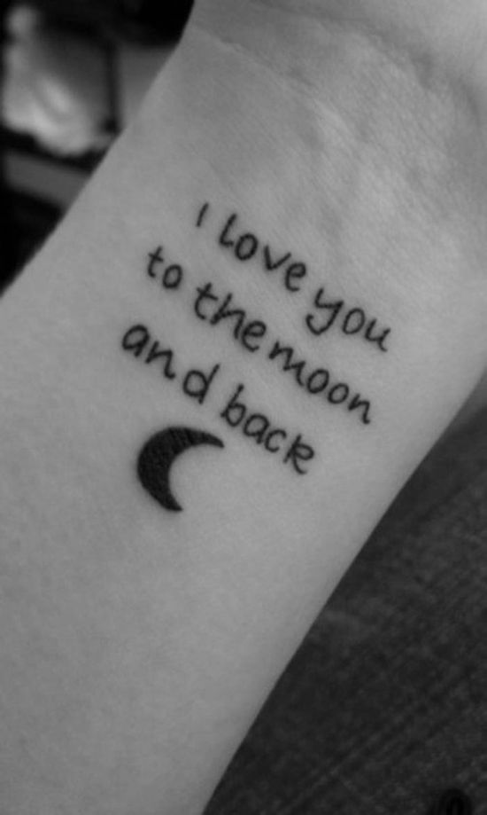 See more I love you to the moon and back writing tattoos on wrist