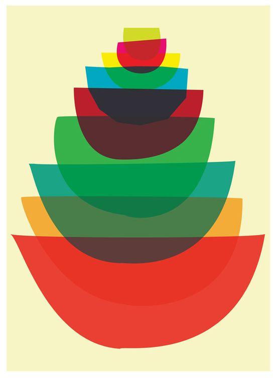 Bowl Stack - Mid Century Modern inspired Mod Kitchen Art Giclee Print. via Etsy