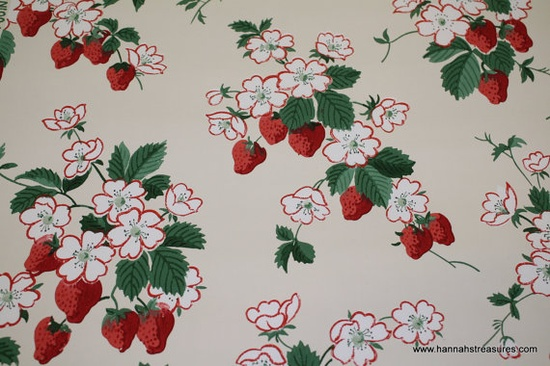 1940's Vintage Wallpaper strawberries and by HannahsTreasures, $14.00/yd