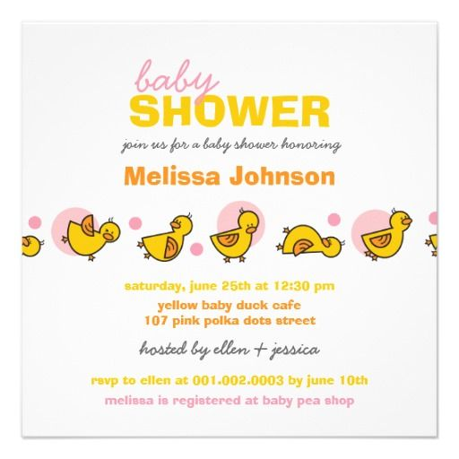 Cartoon Silly Duckies Baby Girl Shower Invitation