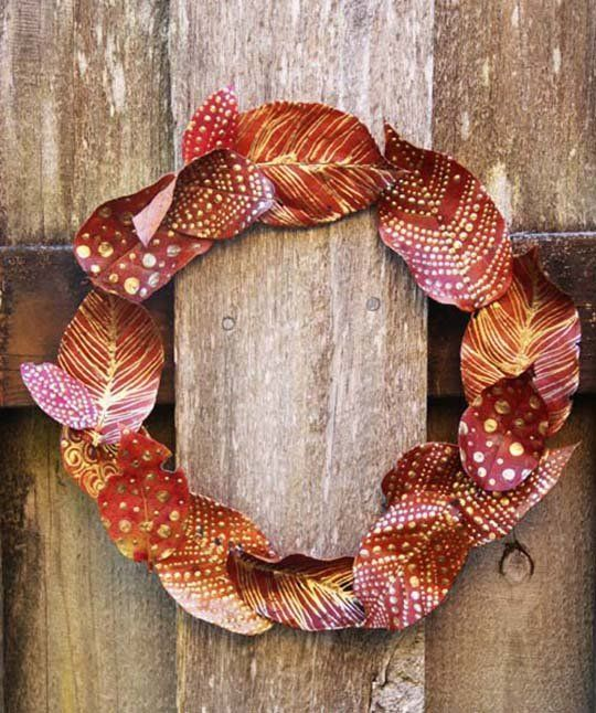 Cheap, Easy DIY Decorating Idea:  Craft with Painted Fall Leaves