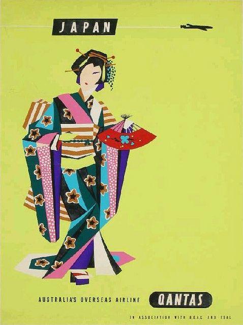 Qantas Vintage Poster - Japan