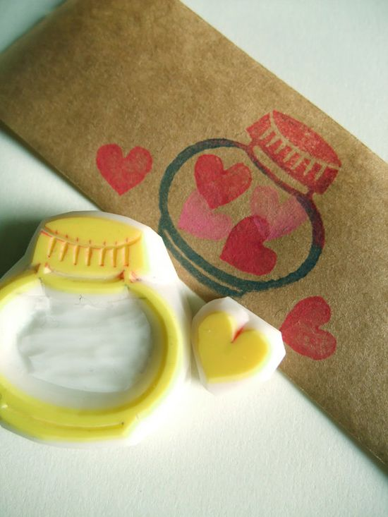 LOVE in the bottle - hand carved rubber stamp - hand carved stamps - love heart stamp - bottle stamp - set of 2. no1. $9,00, via Etsy.
