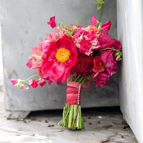 love the variety - Bright Pink Bridal Bouquet // photo by: Photo by Aubrey // Bridal Bouquet: Rountree Flowers
