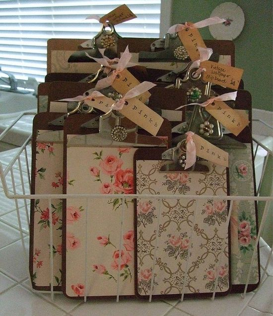 Old Clipboards…made into vintage chic boards using old wallpaper pieces or scr