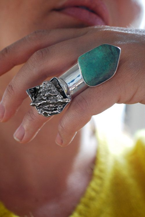 Meteorite and turquoise ring