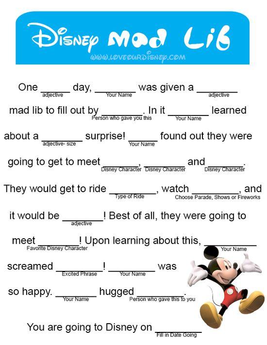 Love Our Disney: Announce Disney Trip- Mad Lib Free Printable