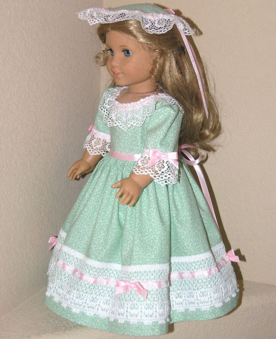 American Girl 18 inch Doll Clothes - Felicity - Dress, Pinner Cap, Pantalettes - Green with Pink Satin Ribbon