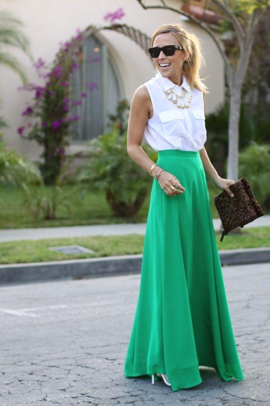 Green maxi + white blouse + leopard clutch