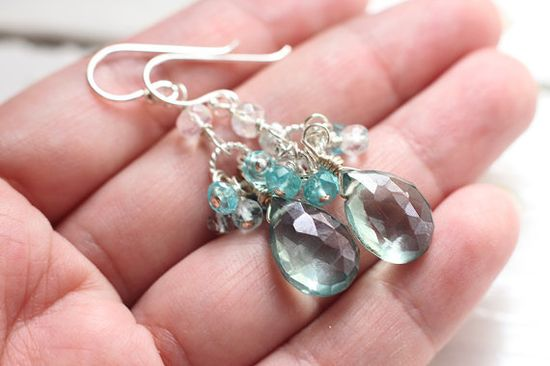 Teal Green Mystic Quartz White Topaz Cluster Gemstone by skyejuice, $40.00