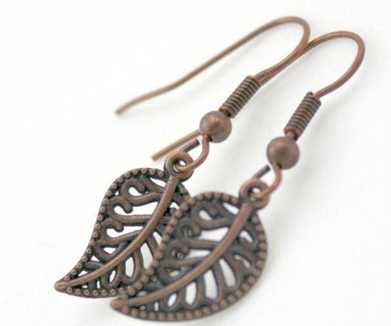 Antiqued Bronze Filagree Leaf Dangle Earrings 1 by SoJewelrySoYou, $5.00 #bronze #earrings #jewelry #leafearrings #leaf #fall #style #fallstyle