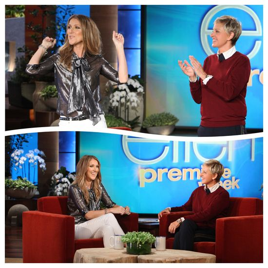 Ellen's season 11 premiere week continues today at 5 p.m. with superstar Celine Dion!  Celine talks about her one-of-a-kind closet in her Florida home that is on the market for 72 million dollars.  Plus, don't miss the very funny moment when Celine teaches Ellen some vocal exercises!  Photos Courtesy: Michael Rozman/Warner Bros.