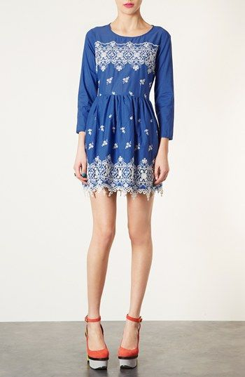 Topshop Embroidered Dress available at #Nordstrom