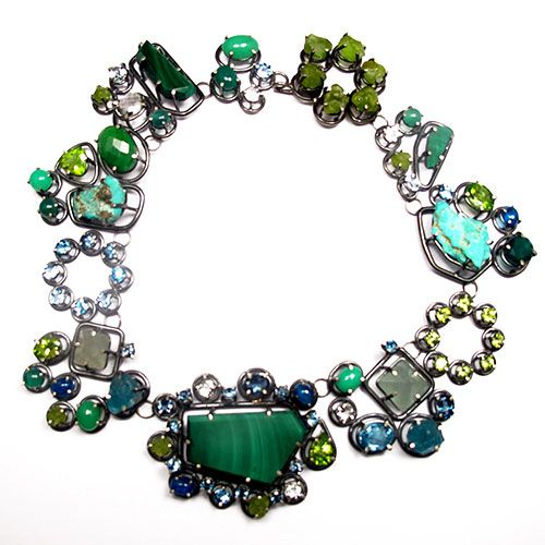 Joanna Gollberg  Necklace  Malachite, blue topaz, rough peridot, faceted peridot, apatite, rough apatite, flourite, turquoise, chrysoprase, green amethyst, green onyx