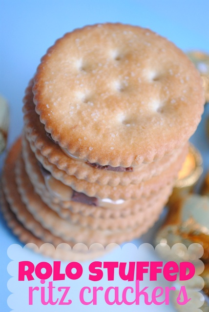 Super Easy Rollo Stuffed Ritz Crackers.Sweet and salty! The recipe says to top the melted rollo with another rollo, but should say top with another ritz cracker. From SomethingSwanky: desserts