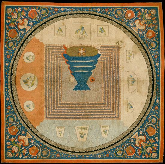 Cosmological Mandala with Mount Meru, Yuan Dynasty, 1271-1368