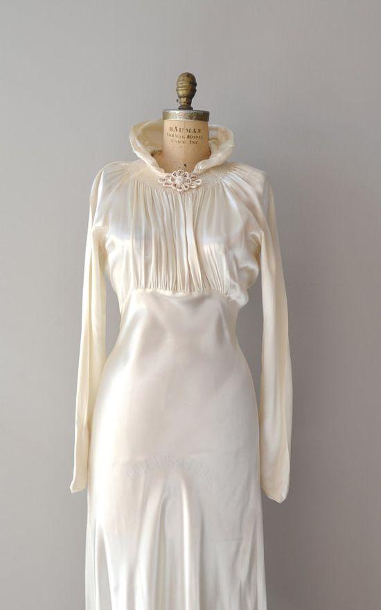 1930s wedding dress / vintage 30s dress / Cascata by DearGolden