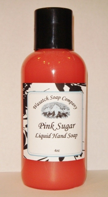 Pink Sugar Handmade Liquid Soap  All Natural - Pink Sugar will take you on a passage through the pleasures and flavors of childhood with a mischievous blend of vanilla, carmel & cotton candy. Notes include: Bergamot, orange, raspberry, fig leaves, lily of the valley, licorice, strawberry, red fruit, cotton candy, vanilla, caramel, musk, wood, powder.