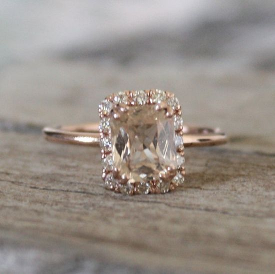 1.83 Cts.Golden Peach Sapphire Diamond Halo Ring in 14K Rose Gold