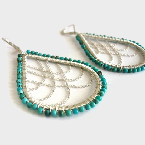 Wire wrapped sterling silver turquoise and chain by stonepoetry - good combo