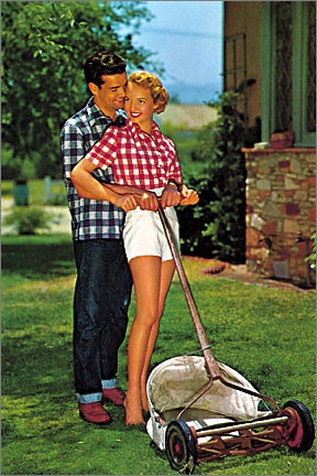 1950s #ad for a push lawnmower.  The wife is wearing a red and white checkered shirt with white shorts and mowing the lawn!  #1950s #50s #retro #vintage #advertising