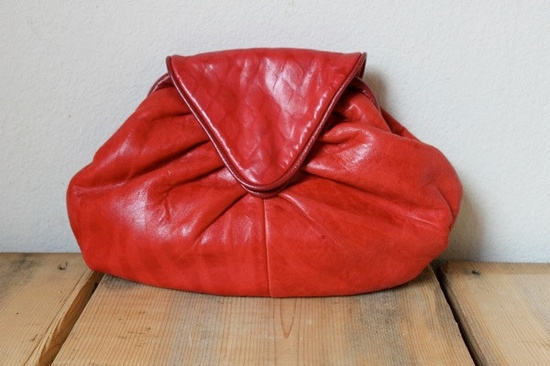 Vintage 1980's Vivid Red Leather Purse.