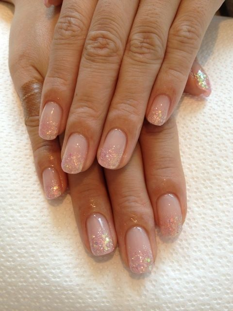 Gorgeous sheer pink glitter gradient nails