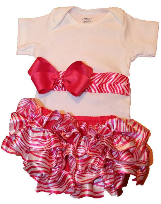 Baby Girl Clothes Onesie Pink and White Zebra Diaper