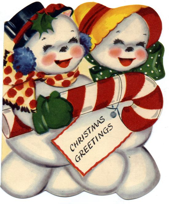 Cheerful Christmas Greetings from Mr. and Mrs. Snowman. #vintage #Christmas #cards