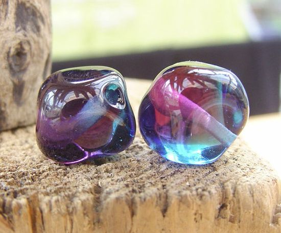 Lampwork Beads Glass Deep Purple and Blue Two Tone by shineon2, £3.50
