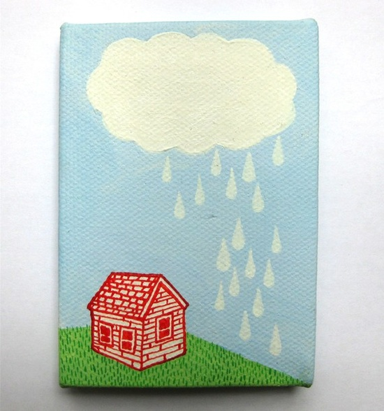 Tiny original painting - Little Rain Shower