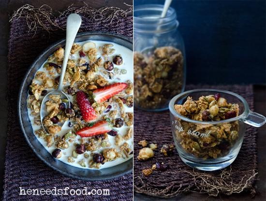 manuka honey, maple, nut + quinoa granola