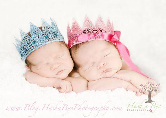 Newborn Sparkly Pink Prince or Princess Crowns