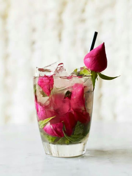 Rose and mint cocktail