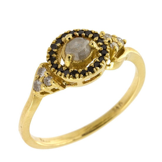 Vintage 3 Types of Diamonds Engagement Ring in 14k Yellow Gold