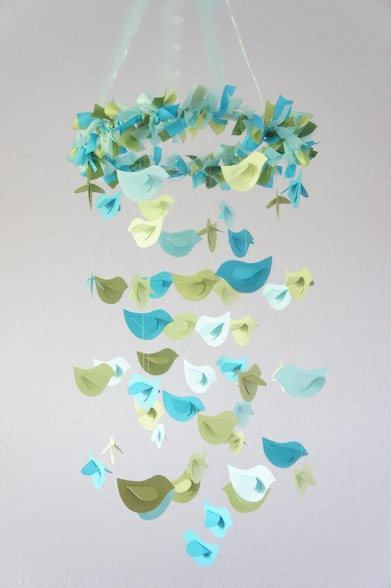Boy Nursery Mobile- Blue & Green Birds