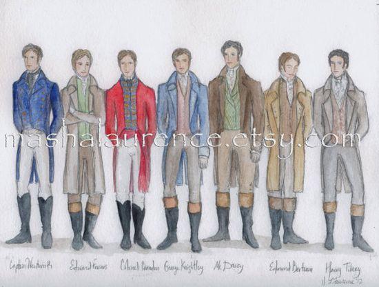 Jane Austen Men: Captain Frederick Wentworth, Edward Ferrars, Colonel Brandon, George Knightley, Fitzwilliam Darcy, Edmund Bertram, and Henry Tilney. ?
