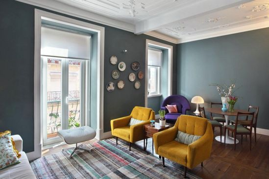 Portuguese architect Tiago Patricio Rodrigues refurbished this 1,184 square foot apartment of the late 1920?s in collaboration with interior design studio Pura Cal. Located in Lisbon, Portugal, the original six bedroom apartment was transformed in 2011 into a wide two bedroom contemporary flat by the architect.