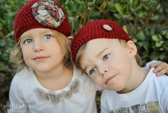 You choose size, custom sets and colors available too! Vegan Crocheted Holiday Beanies for Twins or by Geminivintagestore, $45.00 #twins #twinhats #kidhats #fallhats #holidayhats #photoprop #holidayphotoprop #Christmashat