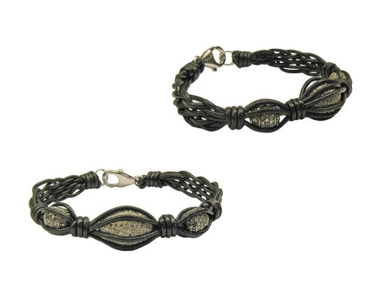 5 Strand Woven Black Leather Bracelet with Oxidized Silver Pave Diamond Beads. Another truly unique handmade jewelry design, only one of these were ever made. #Gempacked