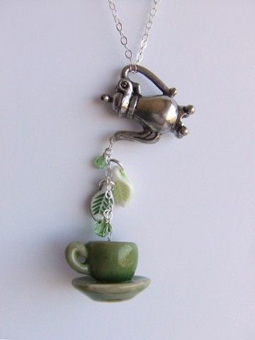 green tea necklace by LycheeKiss on etsy.com--one of the cutest necklaces i own.  her tea necklaces (and raindrop ones too!) are unique, original, and oh so cute!  :)