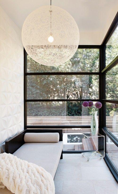 Reading spot, black frame windows