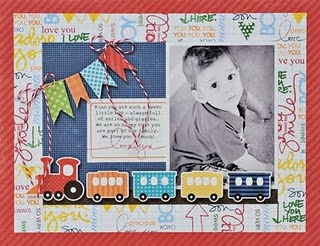 Oh boy! Adorable page by Lynn Ghahary! Love the hand stamped background paper!