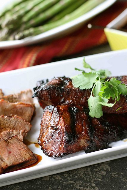 Grilled Tri-Tip Steak with Molasses Chili Marinade --- Making this tonight for Valentine's Day!