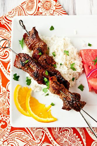 Soy-Marinated Beef Skewers with Cilantro-Lime Sour Cream