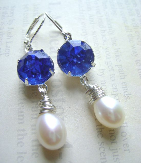 Sapphire Blue and Pearl Estate Style Victorian Dangle Earrings