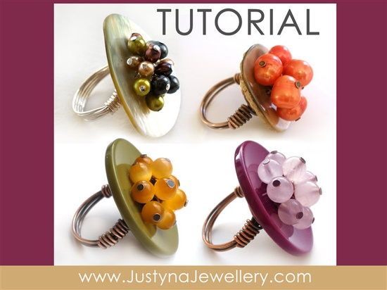 Button Ring Tutorial, Button Jewelry Tutorial, Button Pattern, Wire Ring Tutorial, Cocktail Ring Pattern, Button Instructions, Buttons. $5.00, via Etsy.