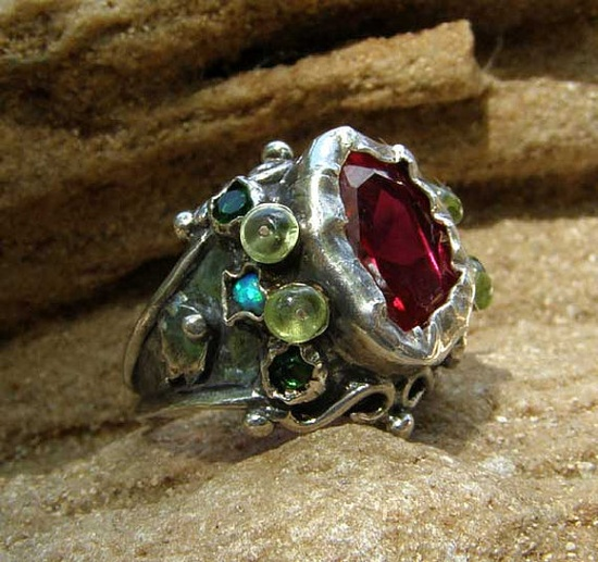 Silver Queen Ring With Pink Zircon and Peridot, Handmade Silver Jewelry by Yifatbareket on etsy