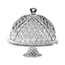 "Domed crystal cake plate with beveled diamond detail.   Product: Cake pedestal and dome   Construction Material: Crystal   Color: Clear  Features:  Beveled diamond detailDimensions: 11.5"" H x 11"" Diameter"